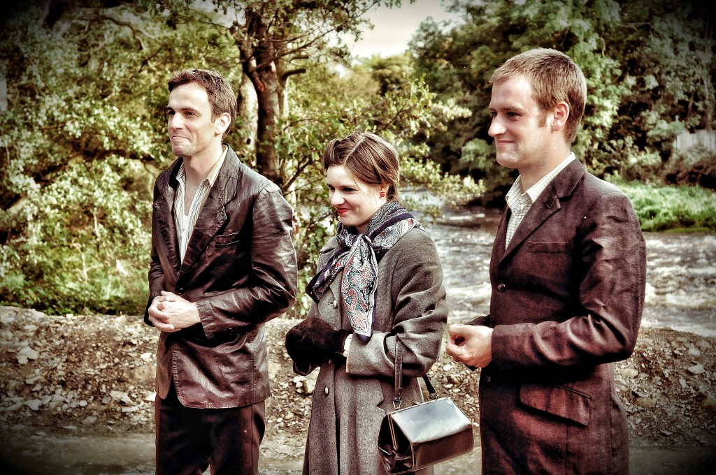 Actors David Smith, Lynsey Jones and Richard Galloway at Hirst Weir, September 2012.