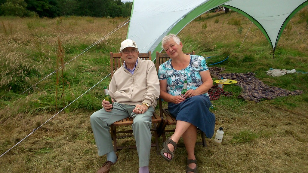 Pat Gledhill, with her Troutbeck Avenue neighbour Eric -- who kindly donated alcohol to the cause!