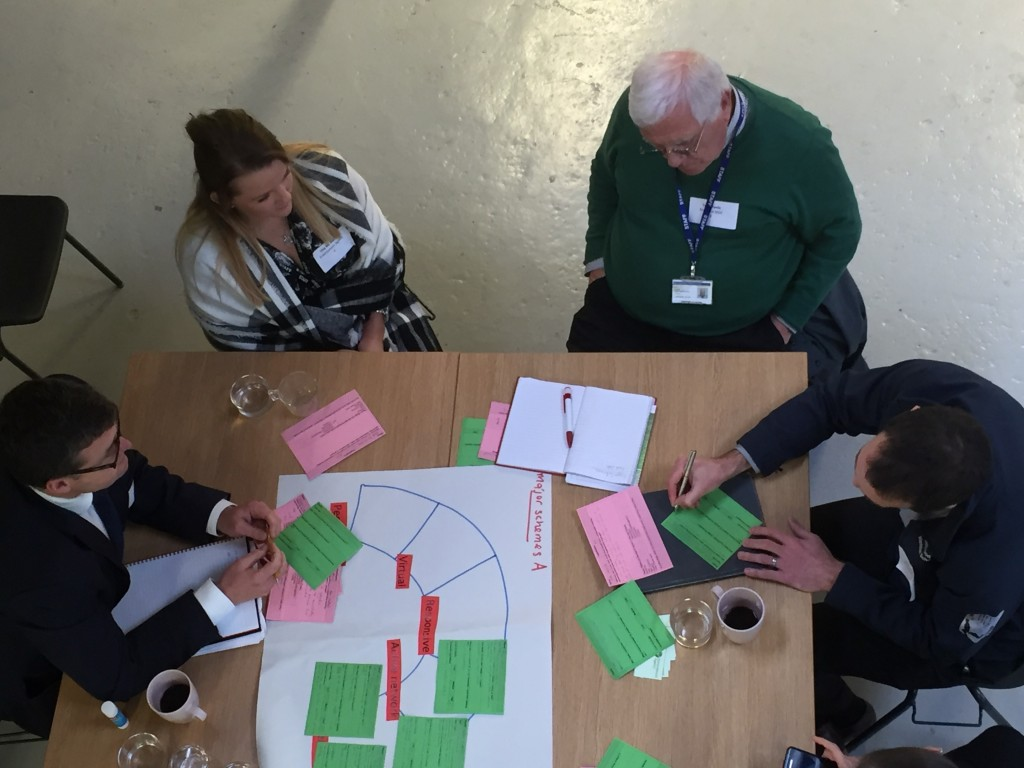 Andy Judson (BAM), Una McMahon (Environment Agency), Tony Poole (Bradford Council), and an unidentified fourth person, hard at work in a discussion group at Open Source Arts