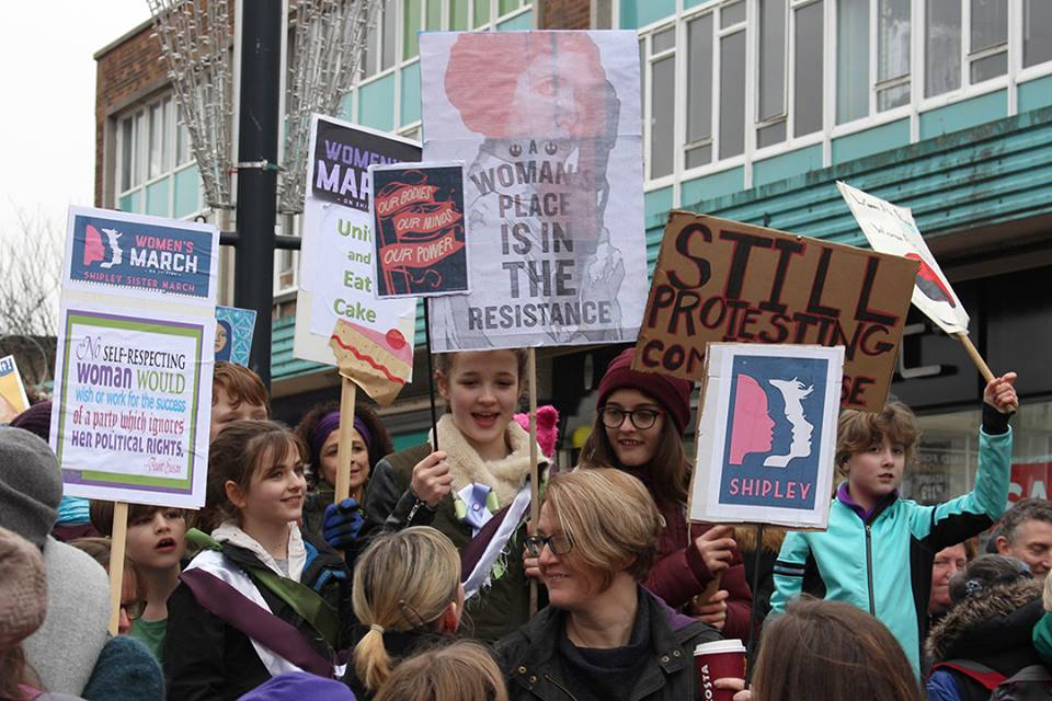 women and placards